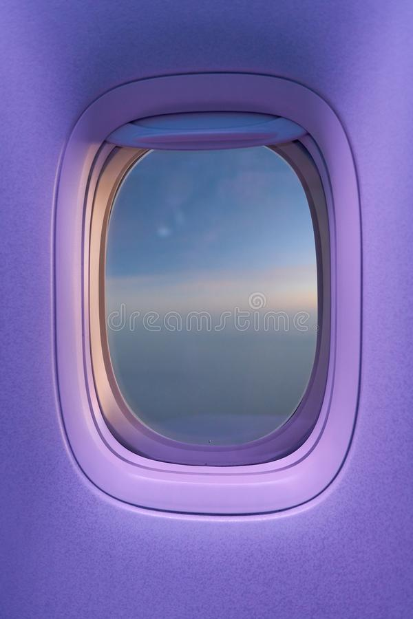 Window. Close up shot of a window in modern aircraft royalty free stock photos