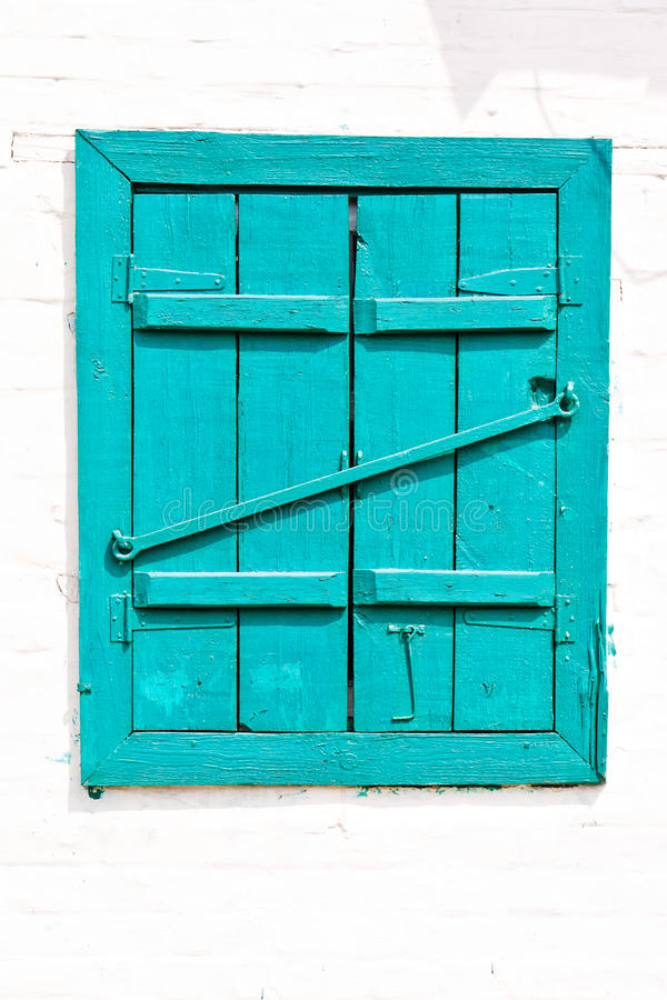 Download Window With Closed Wooden Painted Blue Shutters Stock Photo - Image: 20051716