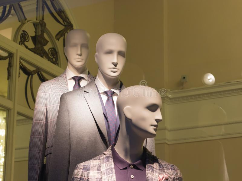 The window of a clothing store with mannequins in Saint Petersburg, Russia. Beautiful design, backlight, stylish royalty free stock photos