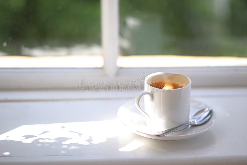 Window coffee2 stock photography