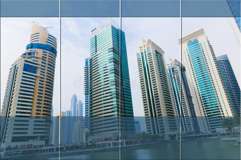 Corporate Office. Window of corporate Office open on view of modern buildings skyscrapers royalty free stock images