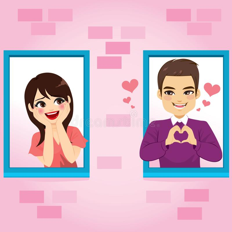 Window Couple Love. Young cute couple in love man making heart symbol with hands and shy happy woman blushing on different windows at Valentine`s day stock illustration