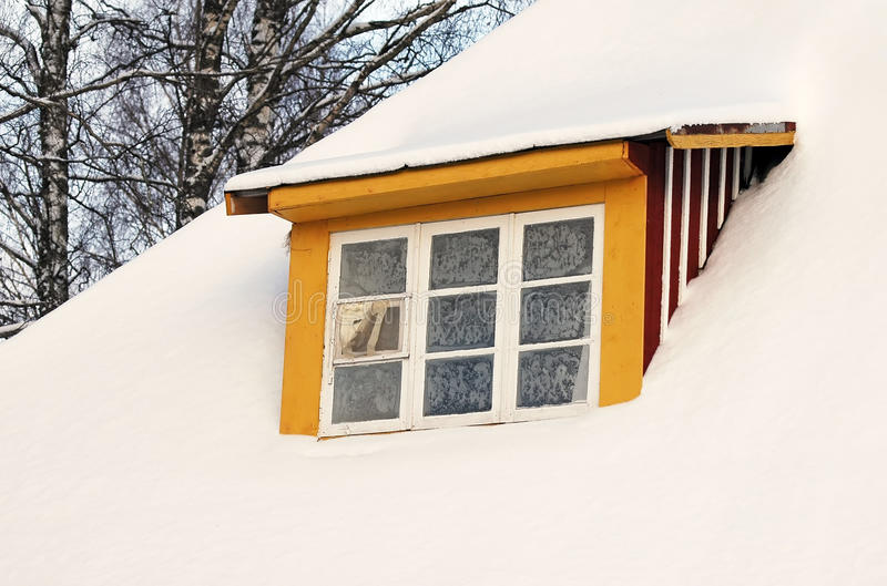 Window covered by snow royalty free stock images