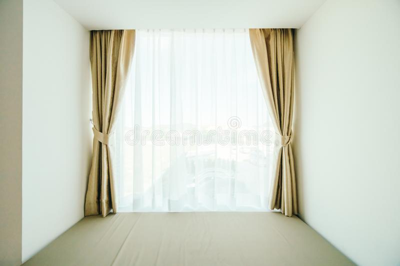 Window with curtain decoration royalty free stock image