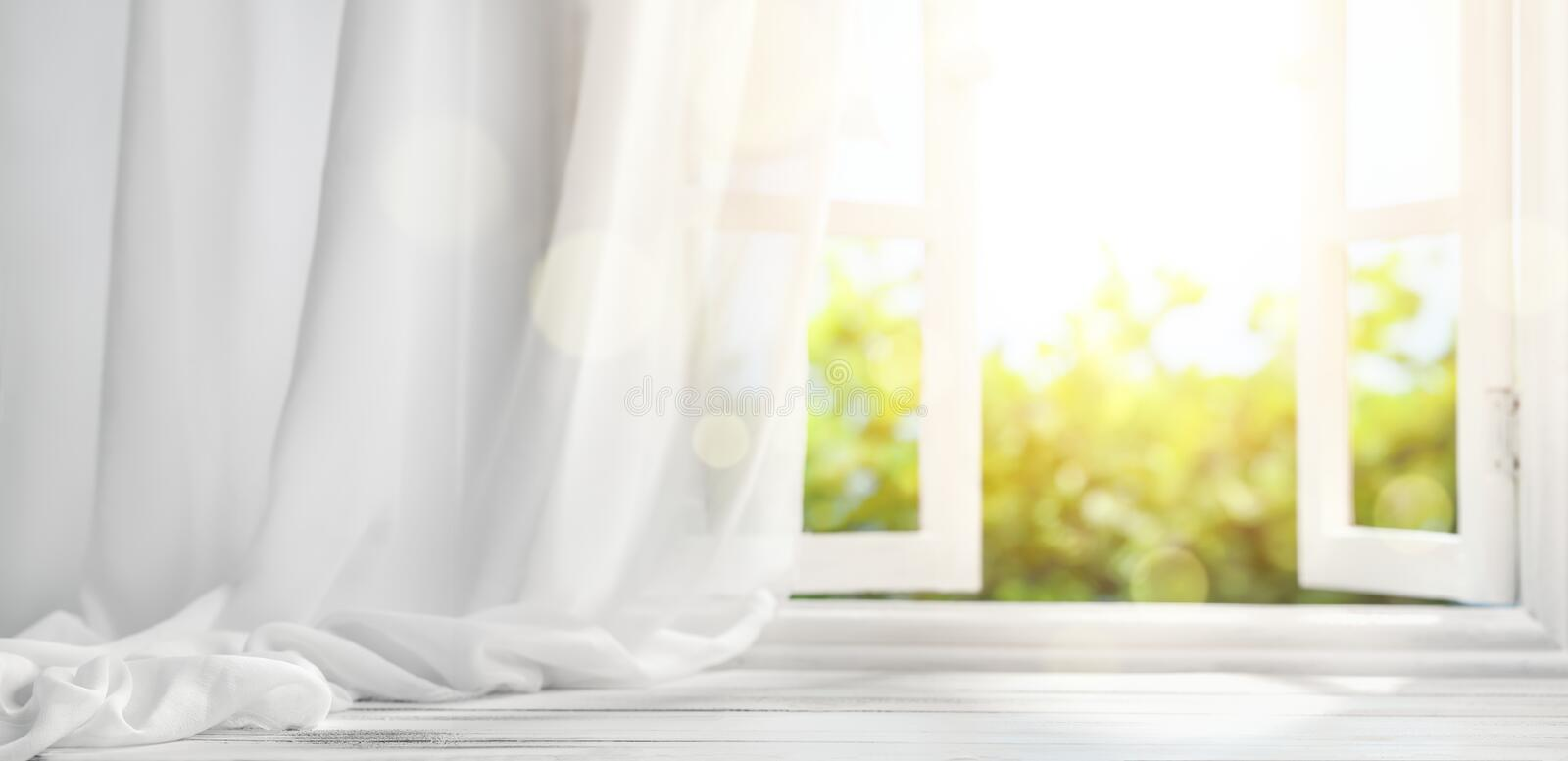 Window with curtain. Interiors background
