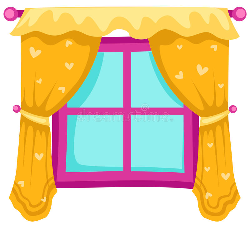 Window with curtains vector illustration