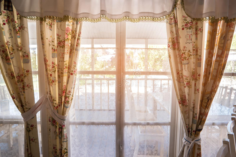 Window and curtains. stock image