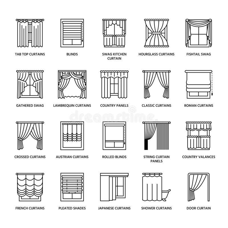 Window curtains, shades line icons. Various room darkening decoration, lambrequin, swag, french curtain, blinds and vector illustration