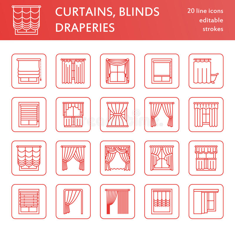 Window curtains, shades line icons. Various room darkening decoration, lambrequin, swag, french curtain, blinds and. Rolled panels. Interior design thin linear royalty free illustration