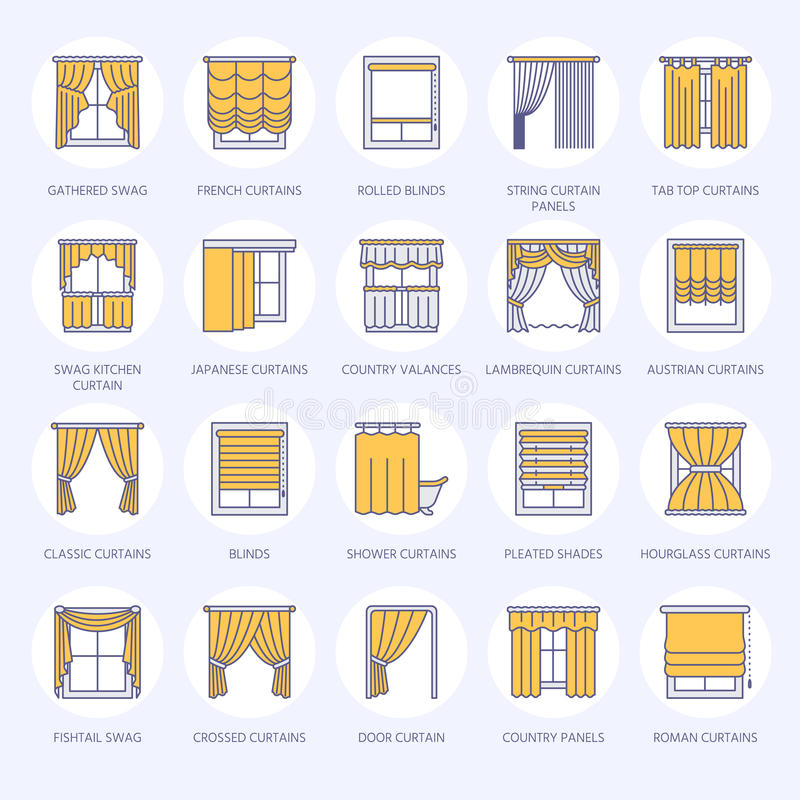 Window curtains, shades line icons. Various room darkening decoration, lambrequin, swag, french curtain, blinds and. Rolled panels. Interior design thin linear stock illustration