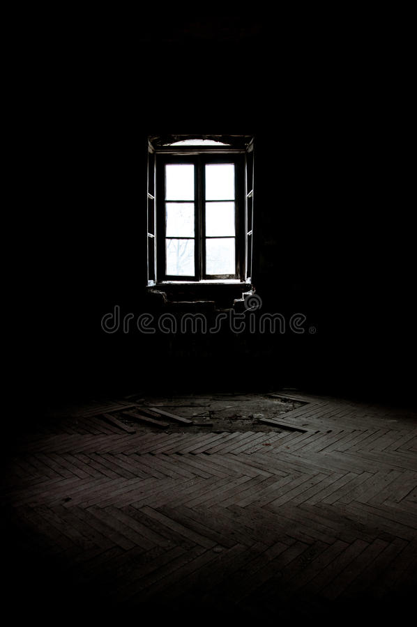 Window in a dark room stock photo. Image of wood, grayscale - 31482058