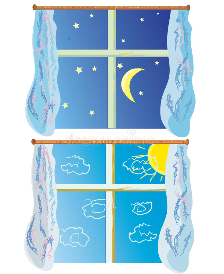 Window at day and night. Cartoon stock illustration