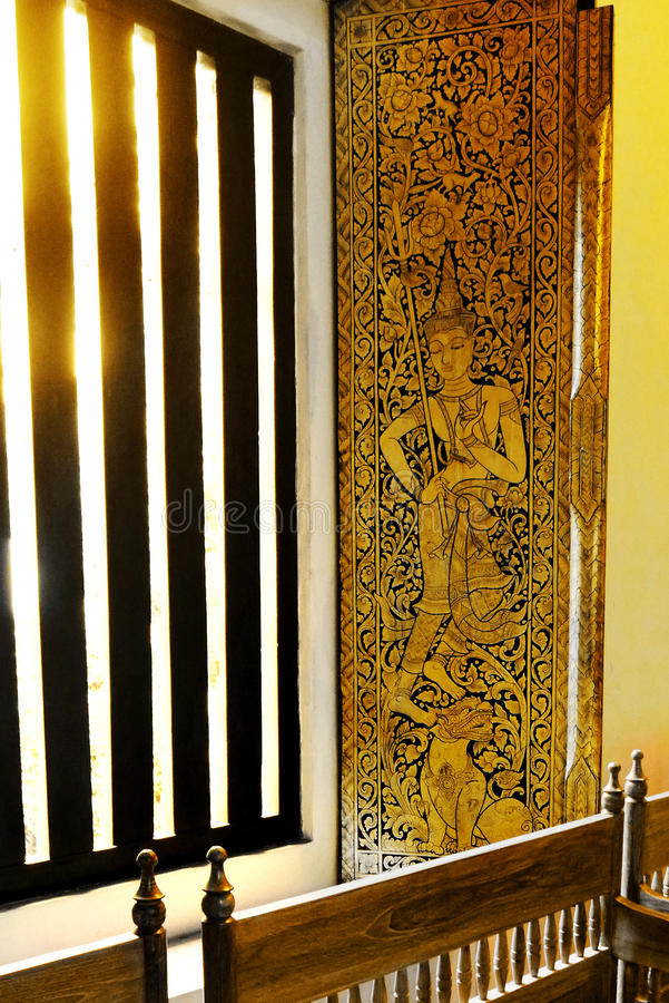 Window deco, Ancient thailand temple royalty free stock photo