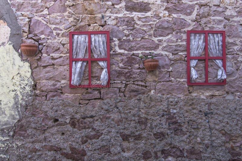 Window decor on wall in Ayvalik, Turkey royalty free stock photography