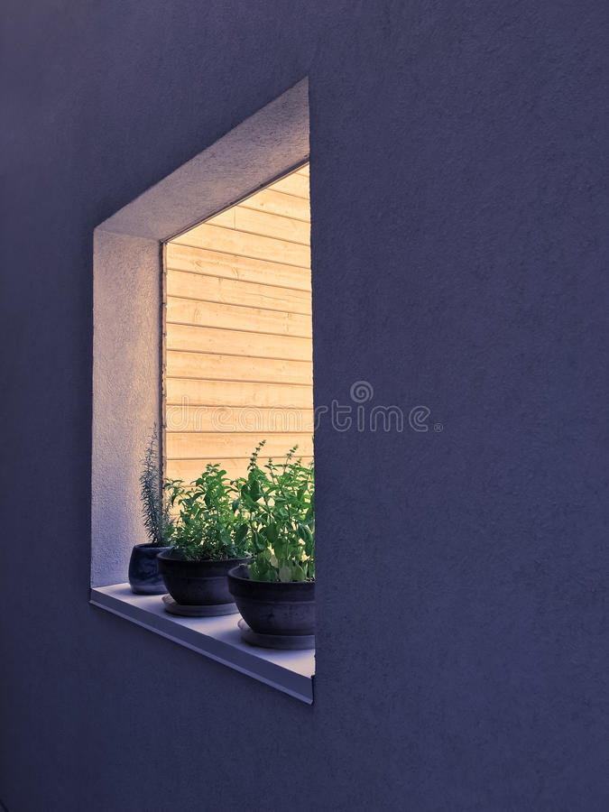 Window decorated with potted herbs stock photos