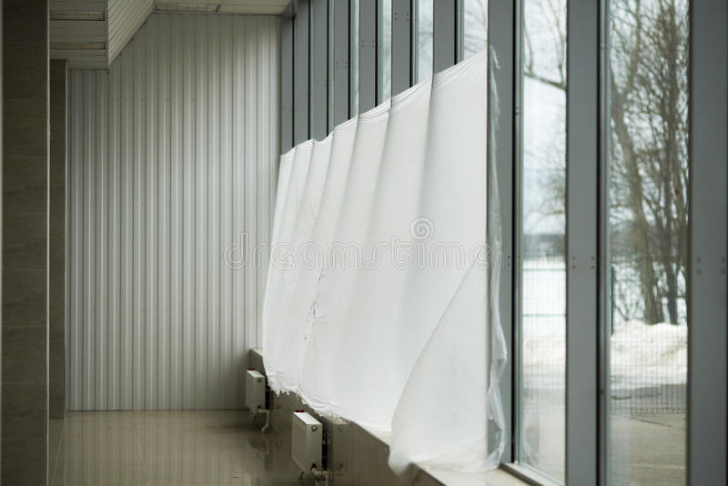 Window decoration of balconies. Of the building, were covered with cellophane stock images