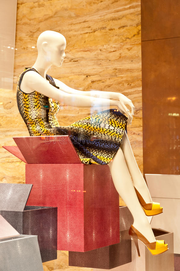 Window display with mannequin in fancy dress royalty free stock photos