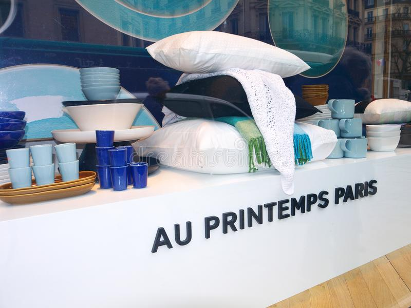 Printemps Store Showcase Bedding and Kitchen items stock photography