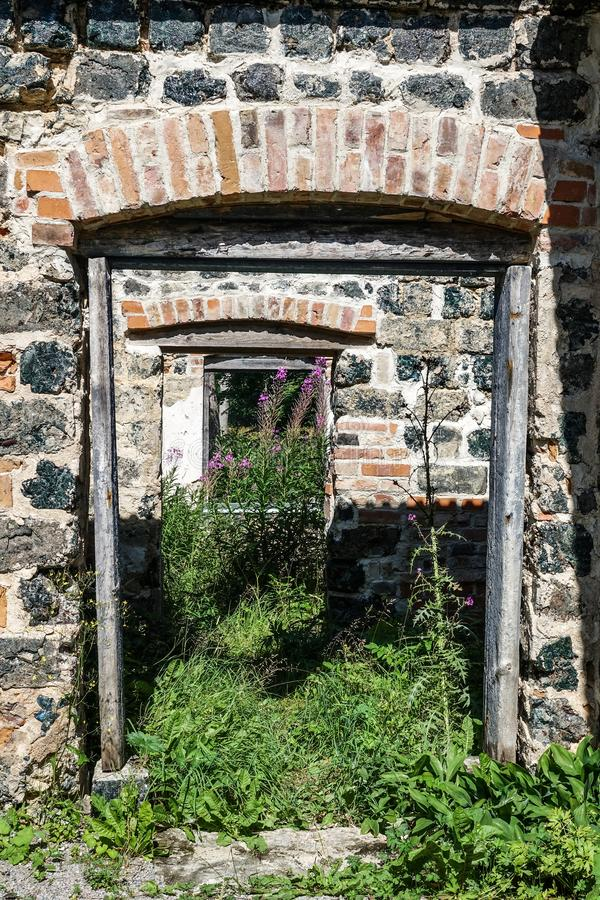 Window and doorway on an old ruin. royalty free stock photography