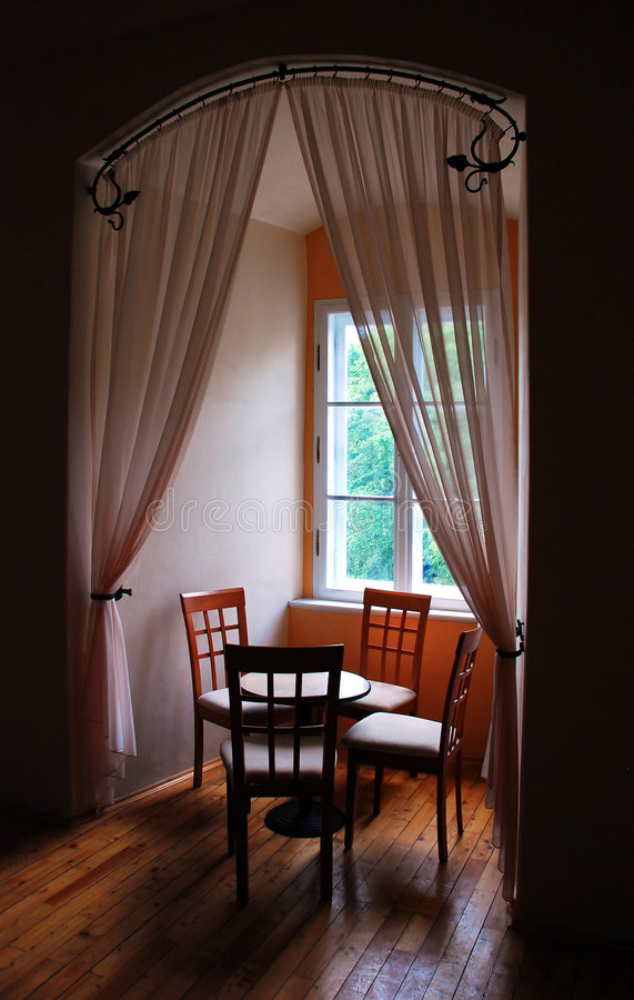 Window embrasure. A historic window embrasure of a interior in a czech castle stock images