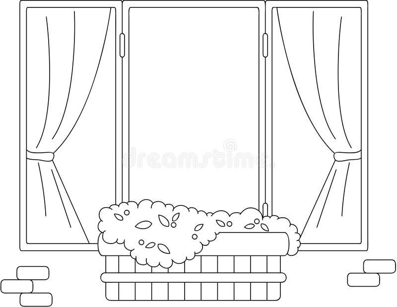 Download Window With Flower Pots And Curtains Coloring Book Stock Vector