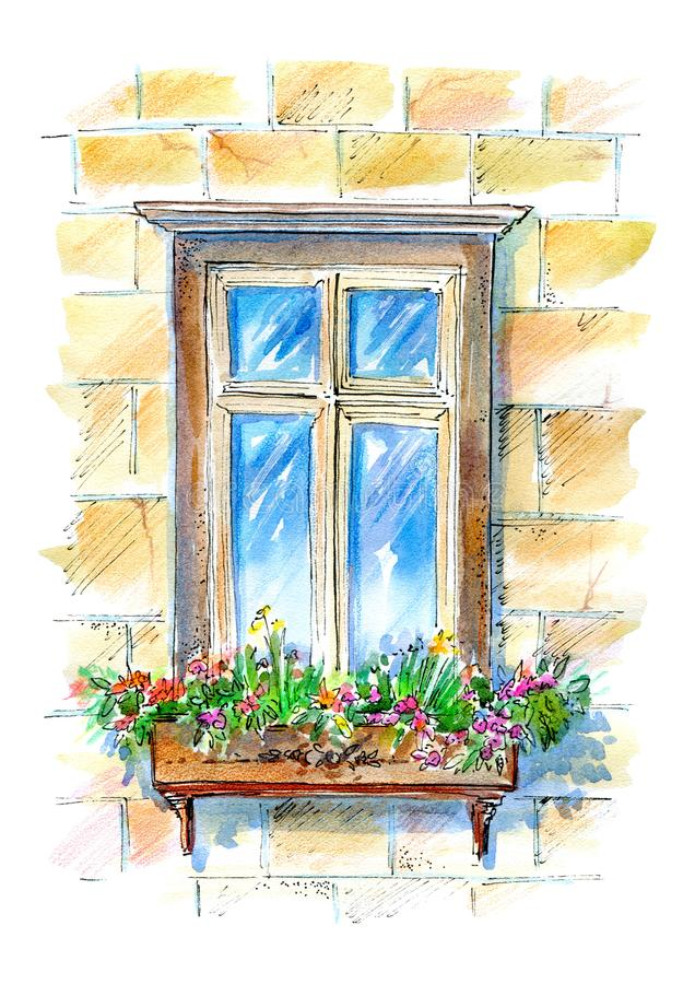 Window with flowers.Old town facade. vector illustration