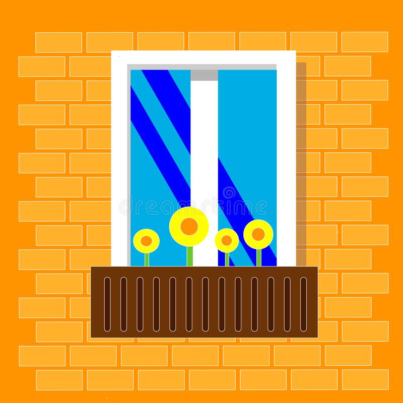 A window with flowers in pot. View outside from the street. Window on brick wall. Vector illustration. Flat style. vector illustration