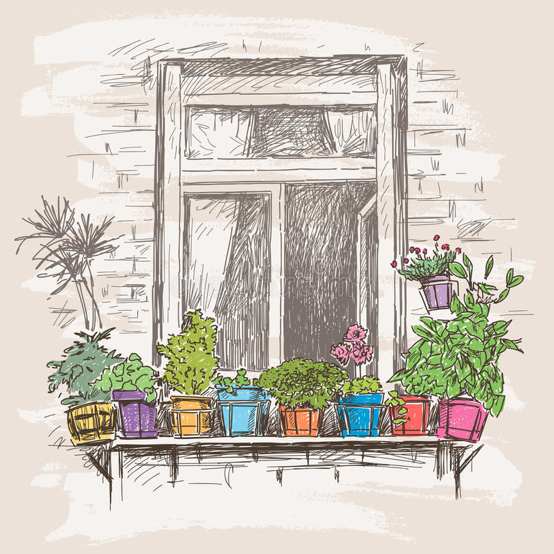 Download Window with flowers stock image. Image of drawing indoor - 47240381  sc 1 st  Dreamstime.com & Window with flowers stock image. Image of drawing indoor - 47240381