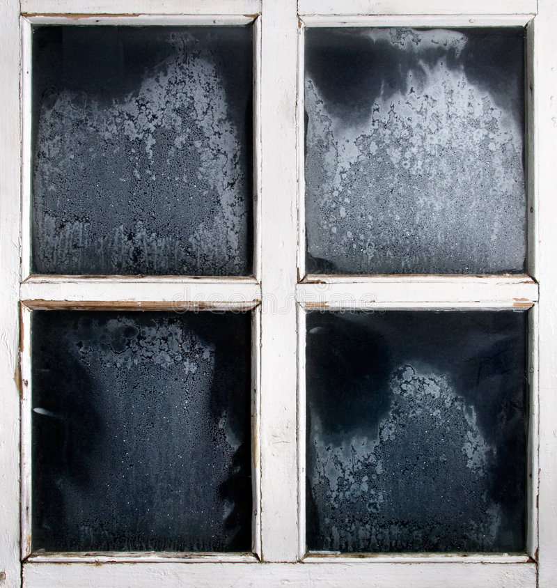 Window frame with frozen glass stock photo