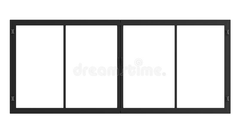 Window frame isolated on white. 3d rendering window frame isolated on white royalty free stock photo