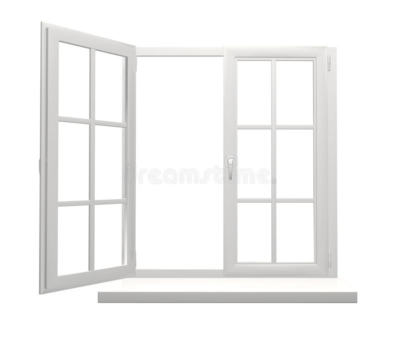 Window frame with one open and one closed flap stock illustration