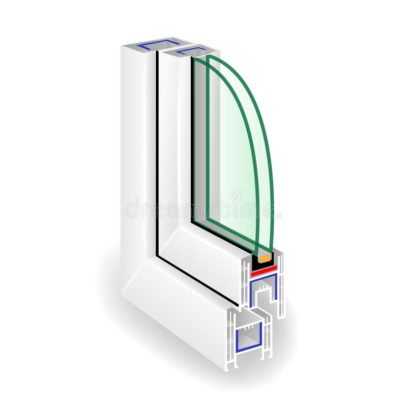 Window Frame Structure. Two Transparent Glass. Vector royalty free illustration