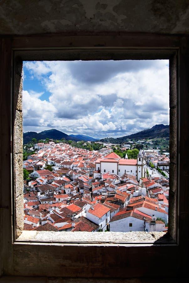 Window framed overview of Castelo de Vide stock photo