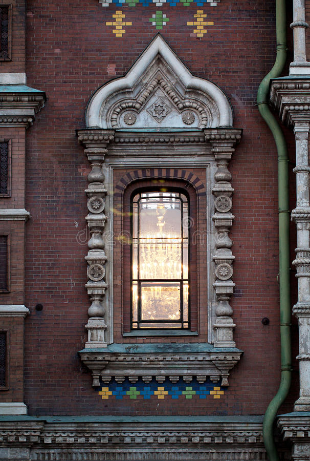 Window with fretwork in pseudo-Russian style. Window of temple Savior on Spilled Blood with fretwork in pseudo-Russian style, St. Petersburg royalty free stock image