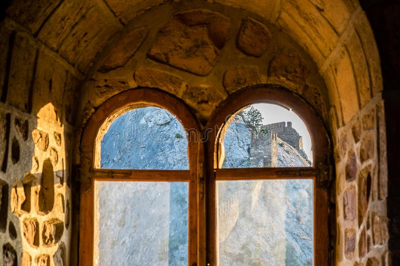Window in the Genoese fortress in the city of Sudak royalty free stock photos