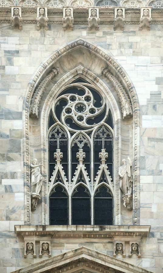 Window of a gothic cathedral in Milan stock photos