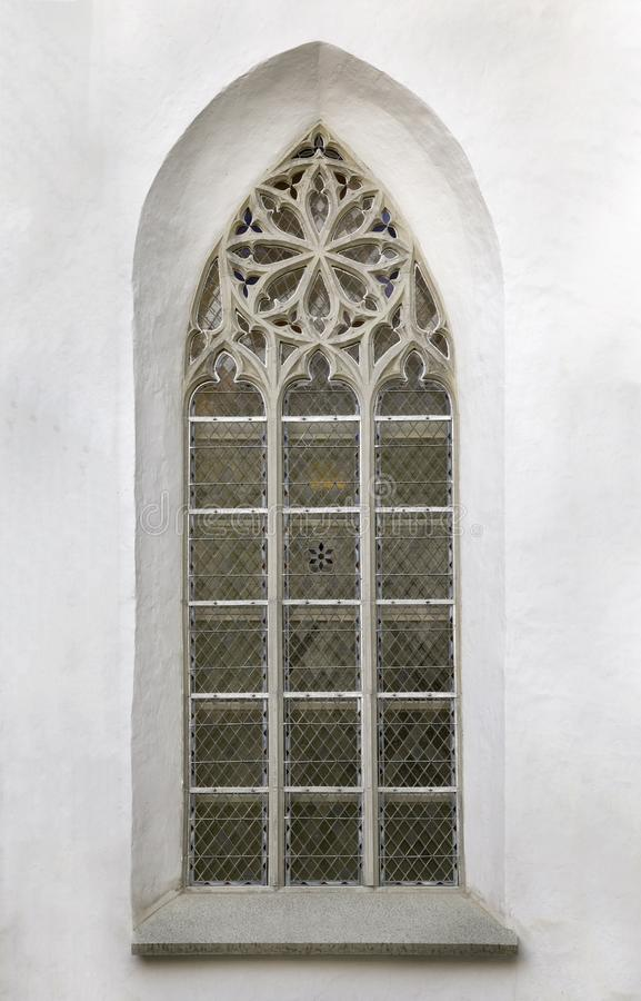 Window of a gothic cathedral stock photo