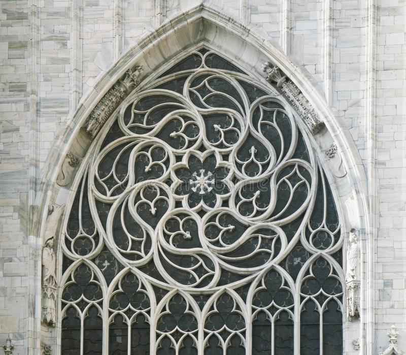 Window of a gothic cathedral stock photos