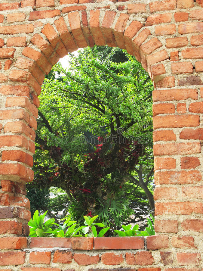 Window Through Green stock image