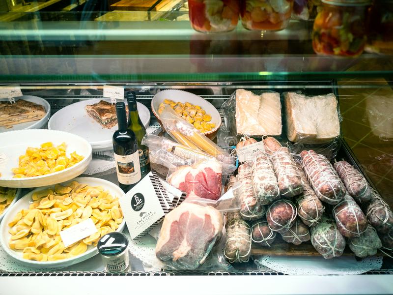Window of grocery with local gastronomy products royalty free stock images