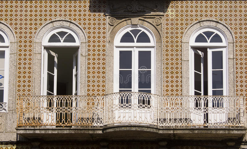 Window Guimaraes Portugal. Window and brown facade in Guimaraes Portugal stock photo
