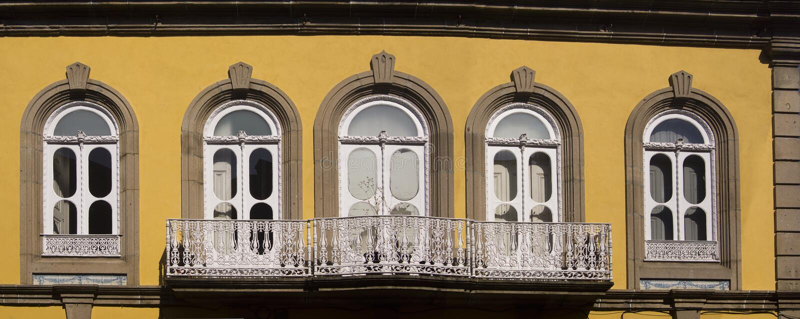 Window Guimaraes Portugal. Window and yellow facade in Guimaraes Portugal royalty free stock photography