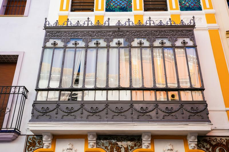 Window of a historical building in Seville, Spain. Picture of a window of a historical building in Seville, Spain royalty free stock image