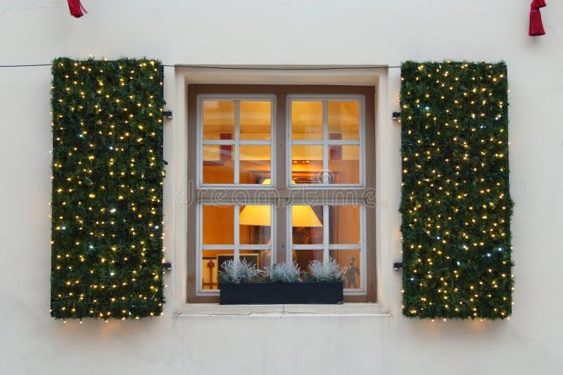 Winter window decoration in Vilnius downtown stock photo