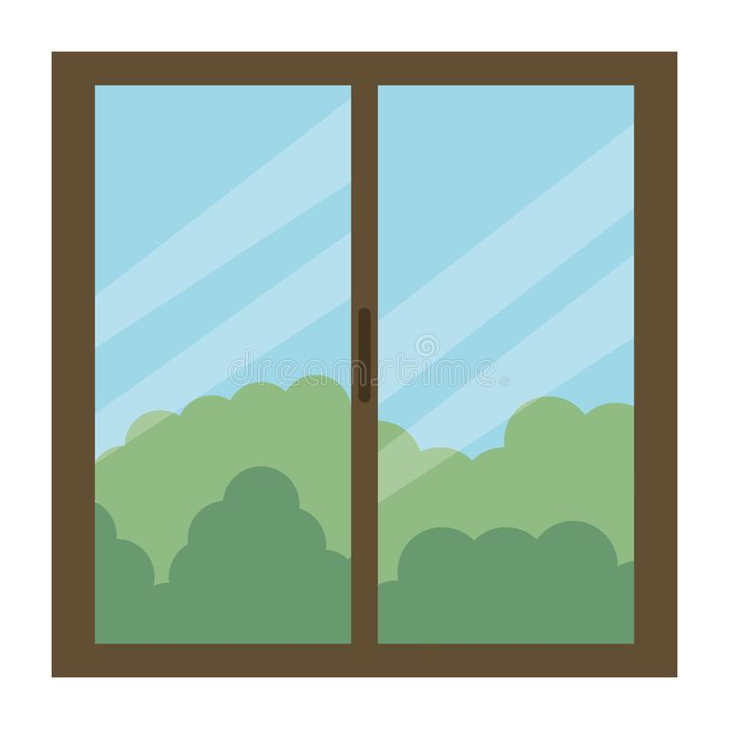 Window house with day outside view. Vector illustration design royalty free illustration