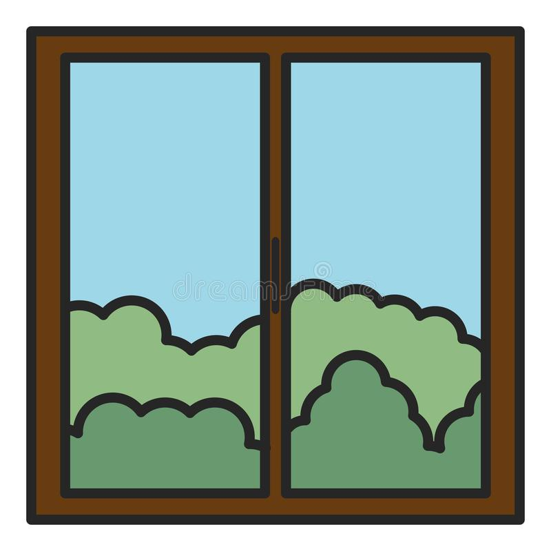 Window house with day outside view. Vector illustration design vector illustration