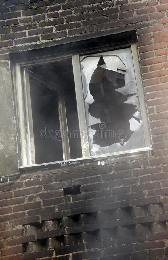 Window Of A House After The Fire. Editorial Stock Image