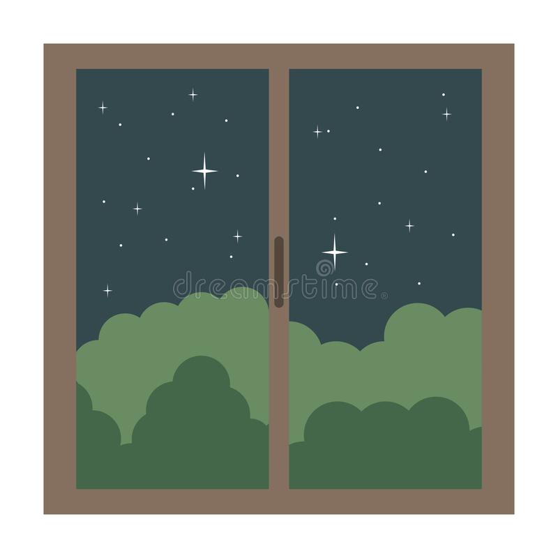 Window house with night outside view stock illustration