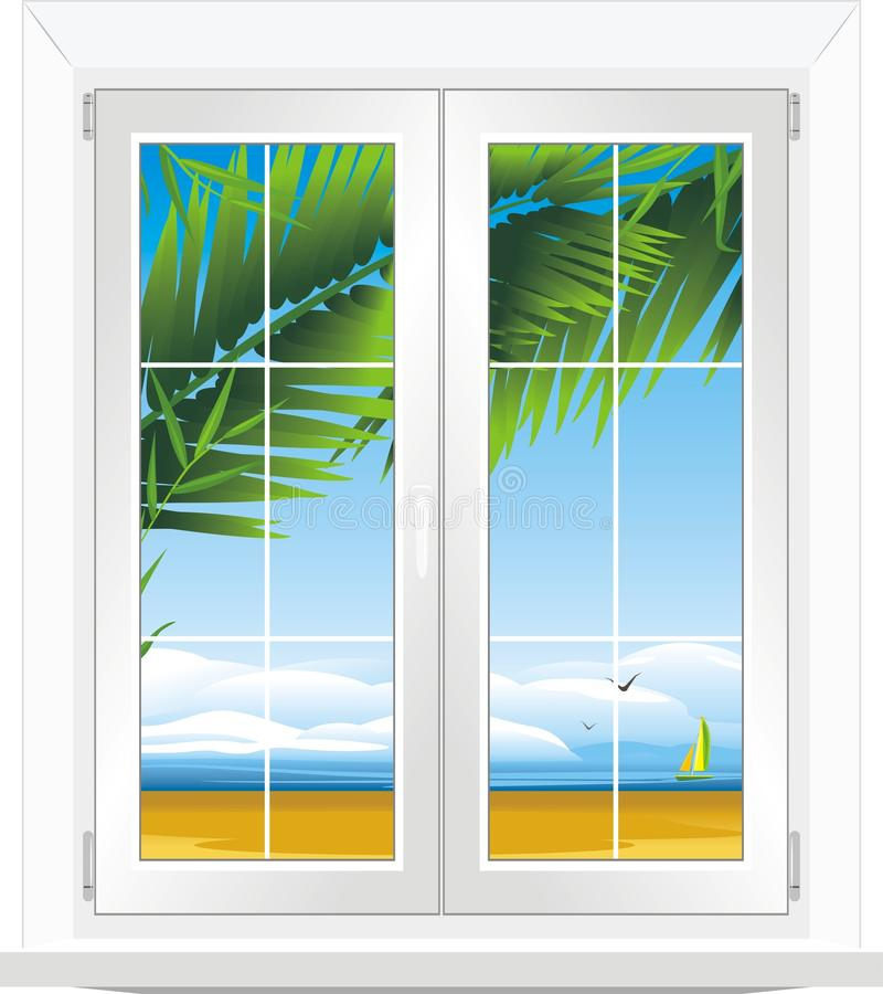 Download Window With Kind Of Sea Landscape Stock Vector - Image: 25689728