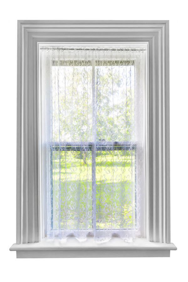 Window With Lace Curtain Royalty Free Stock Photos